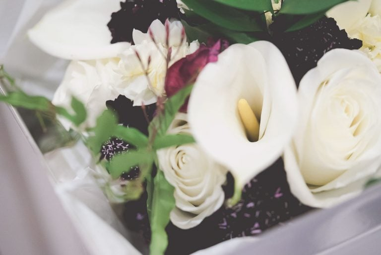 Lilies and Roses in a bridal Boquet