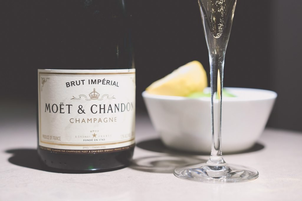 The bottle of Moet and Chandon Brut Imperial champagne which the bridesmaids enjoyed before a GPO wedding in Melbourne
