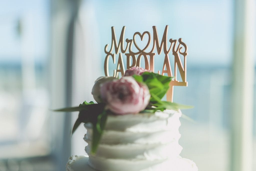 The top of a wedding cake with the couple's name