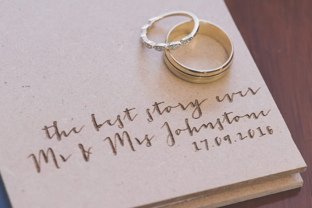 Wedding rings on a little book.