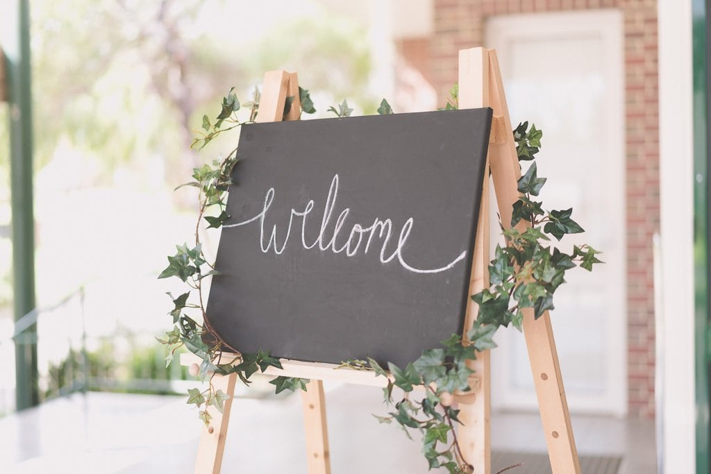 A welcome sign for a wedding at a baptist church in Melbourne