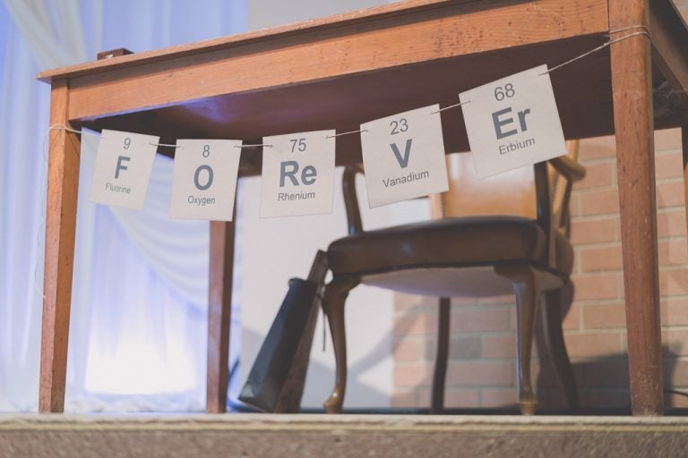 Clever details made this Melbourne wedding especially unique. This table bunting spells the word Forever using elements from the periodic table.