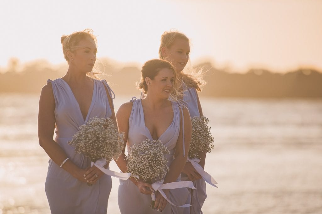 Gorgeous bridesmaids in the sunset light