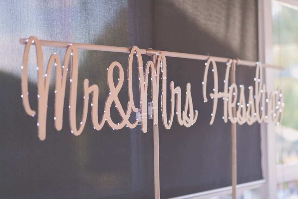 A Mr and Mrs wedding sign during their Mornington Peninsula wedding photography.