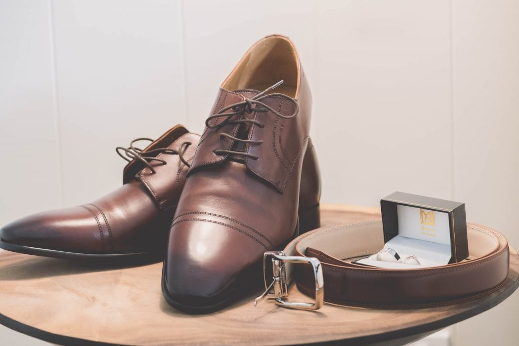 Wedding Photography Melbourne by Pause The Moment - Beautiful wedding photography of the groom's shoes, rings and belt - Paringa Estate Wedding Photographer
