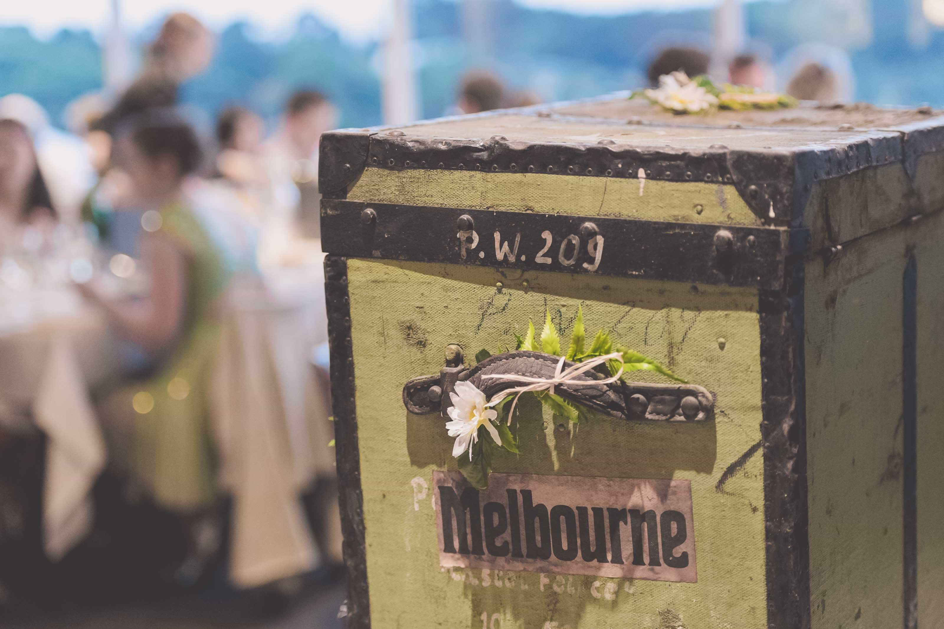 Wedding Photography Melbourne by Pause The Moment - Side view of a rustic gift box - Paringa Estate Wedding Photographer