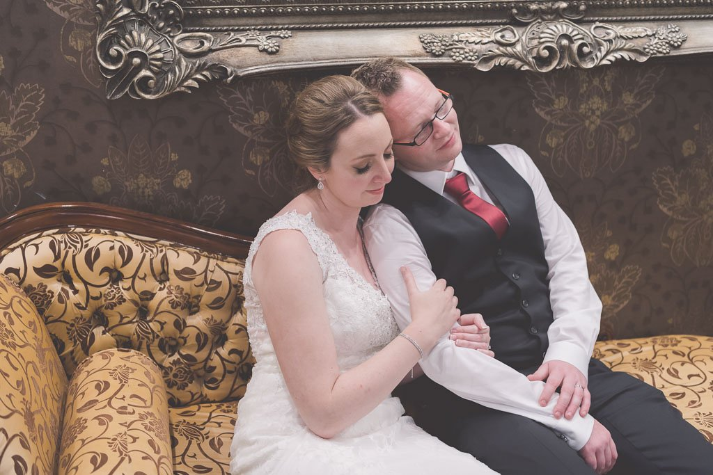 Gorgeous Melbourne wedding photography by Pause The Moment of a bride and groom pretending to sleep towards the end of their wedding at Lincoln on Toorak