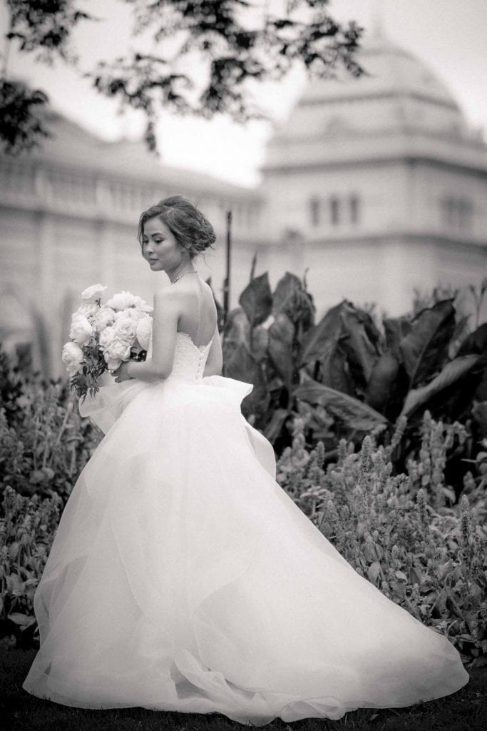 Melbourne wedding photography in Carlton Gardens of the bride in black and white