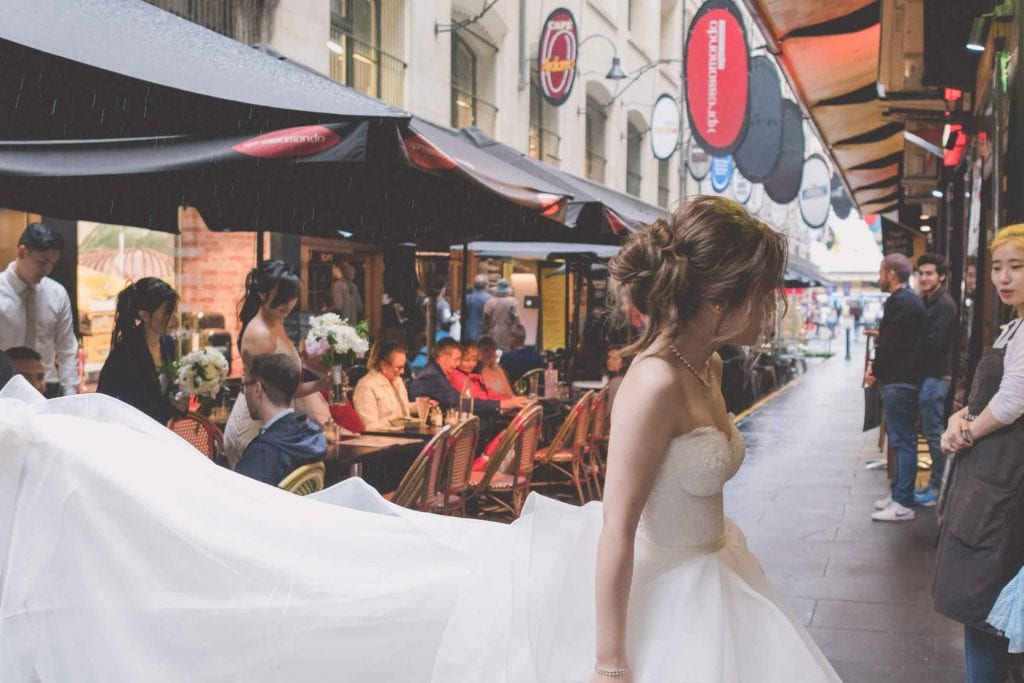 Melbourne wedding photography of the bride at a Degraves Street cafe
