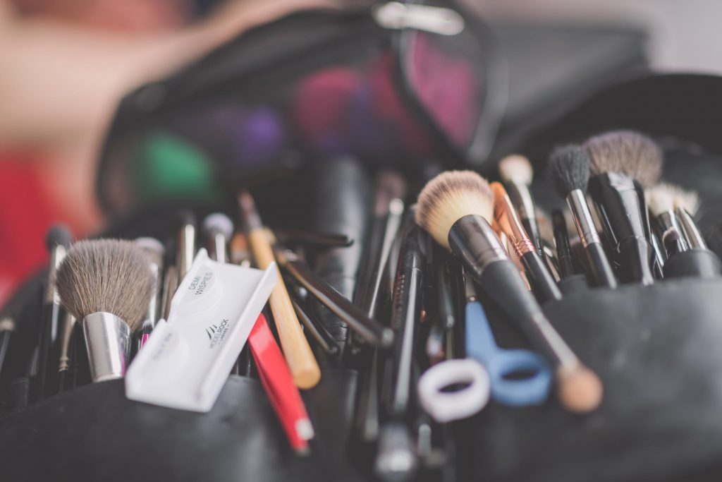 Melbourne wedding photography of makeup brushes in a case