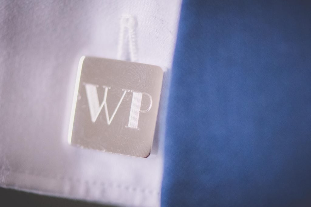 Melbourne wedding photography of some initialed cufflinks