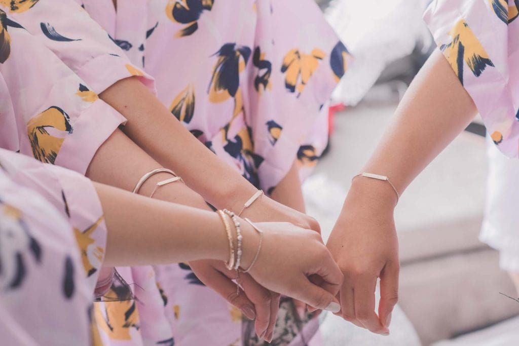Melbourne wedding photography of custom bracelets that were gifted to the bridesmaids