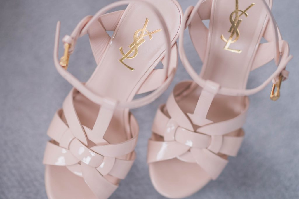 Melbourne wedding photography of bridal shoes that are YSL shoes by Yves Saint Laurent shoes and shoewear