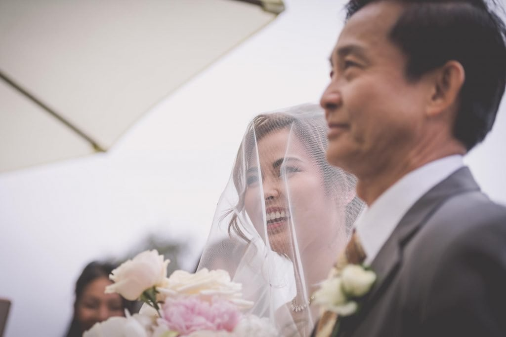 Melbourne wedding photography of a bride just as she glimpses her groom