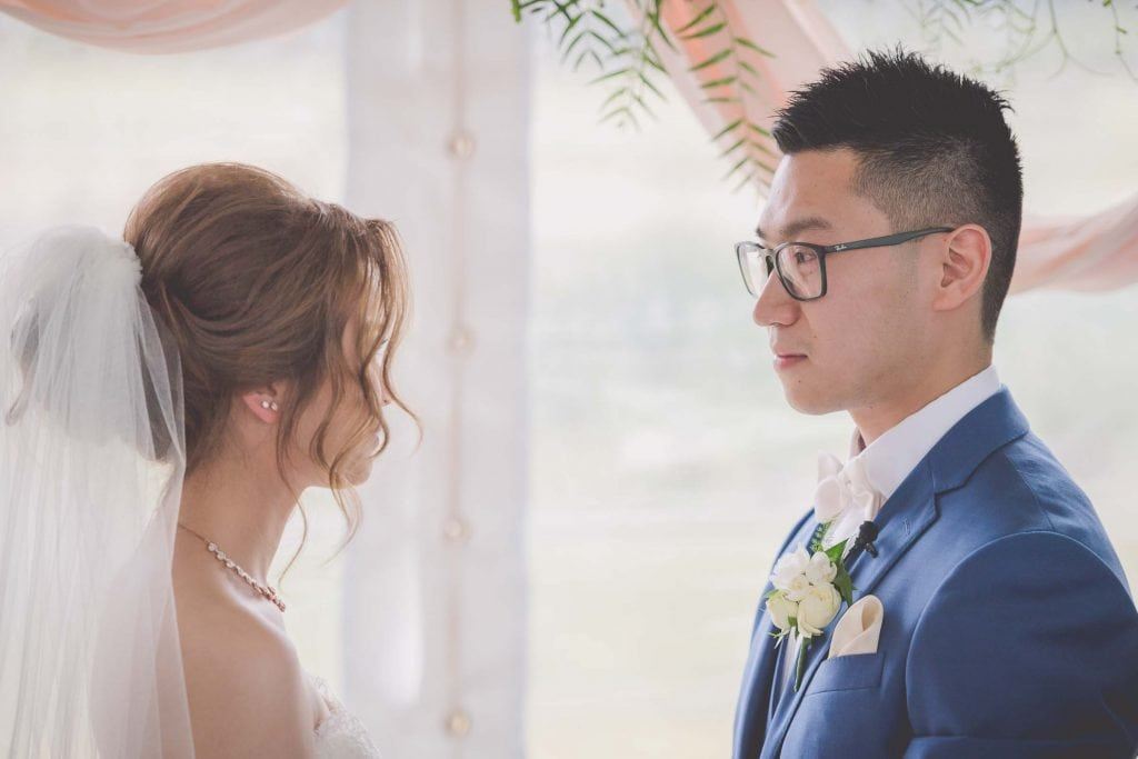 Melbourne wedding photography of a groom staring lovingly into his bride's eyes