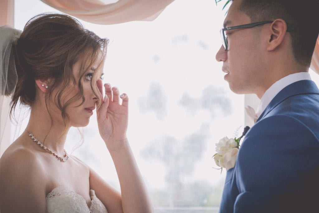 Melbourne wedding photography of the bride crying happy tears