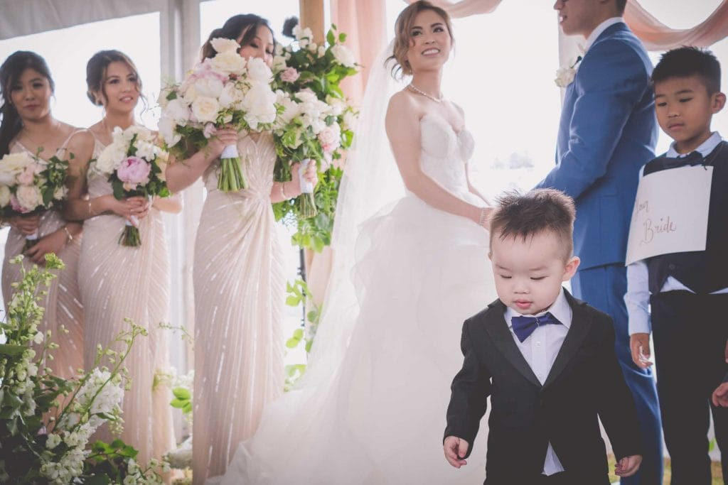 Melbourne wedding photography of a pageboy at the ceremony