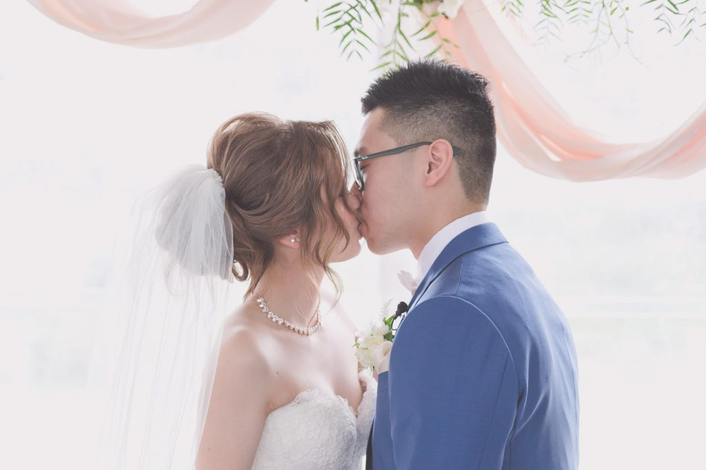 Melbourne wedding photography of the couple's first kiss as husband and wife